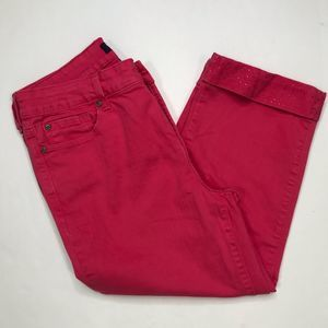 NYDJ red crop jeans with stones on hem
